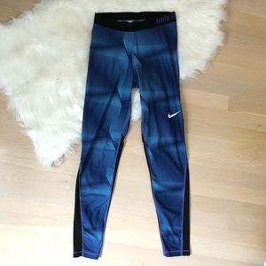 Nike Pro Blue Running Leggings Size Medium